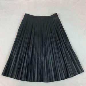 7 for All Mankind Vegan Leather pleated midi Skirt